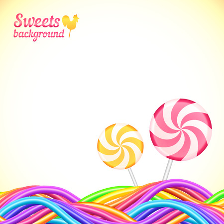Round candy rainbow colors sweets background Ilustração