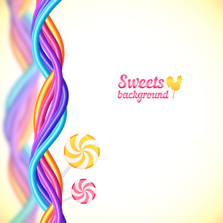 licorice sticks: Round candy rainbow colors sweets background Illustration