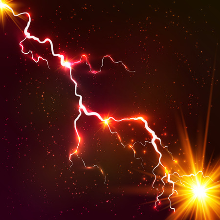 powerful: Red shining cosmic plasma vector lightning