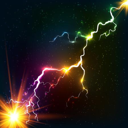 pernos: Colores del arco iris que brilla un rayo de plasma cósmico Vectores