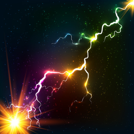 Rainbow colors shining cosmic plasma lightning