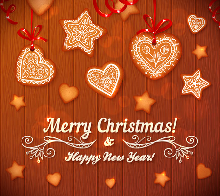 gingerbread heart: Christmas gingerbread stars and hearts greeting card on wooden background Illustration