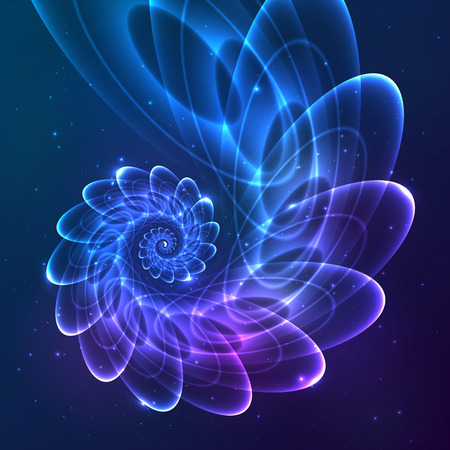 Blue abstract vector fractal cosmic spiral