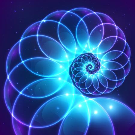 Niebieski abstrakcyjna wektora Fractal kosmiczne spirali