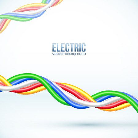 cables: Vector hanging colored cables vector background Illustration
