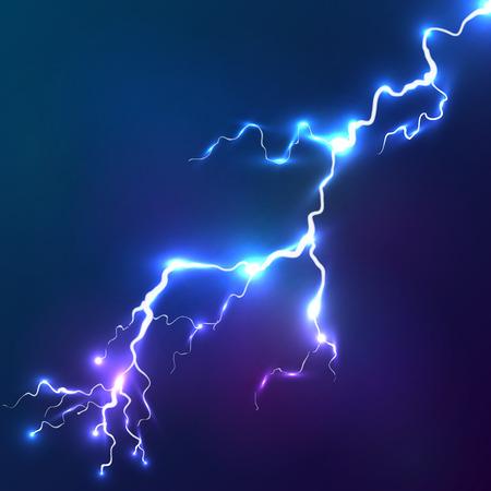 輝く電光のベクトルの背景ブルー