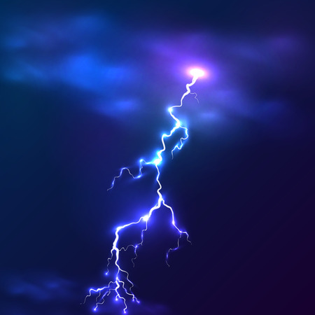 Blue shining vector lightnings background Vector