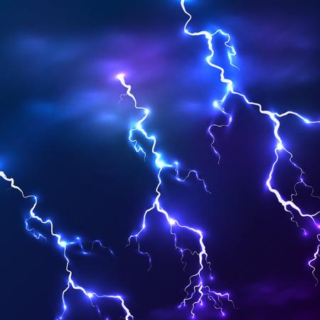 Blue shining vector lightnings background