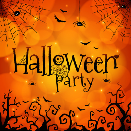 halloween party: Halloween party orange vector greeting card