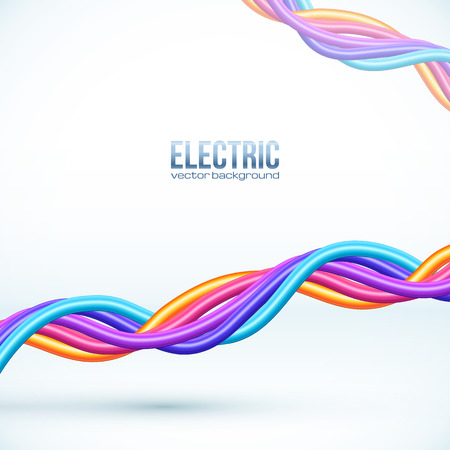 Colorful plastic twisted cables vector background