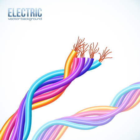 electrical wires: Colorful plastic twisted cables vector background