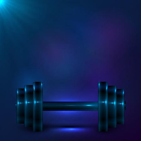 Dumbbell on night dark blue background Vector