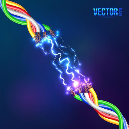 Elektrische Blitzschlag zwischen farbigen Kabeln Illustration