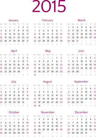 Simple 2015 year calendar vector grid Vector