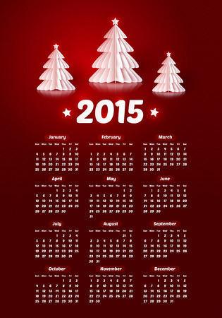 Vector 2015 new year calendar with realistic paper Christmas trees Vector