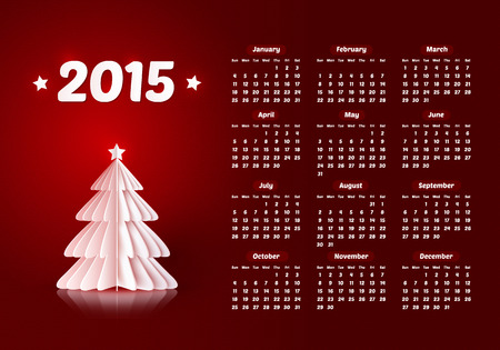 Vector 2015 new year calendar with paper Christmas trees photo