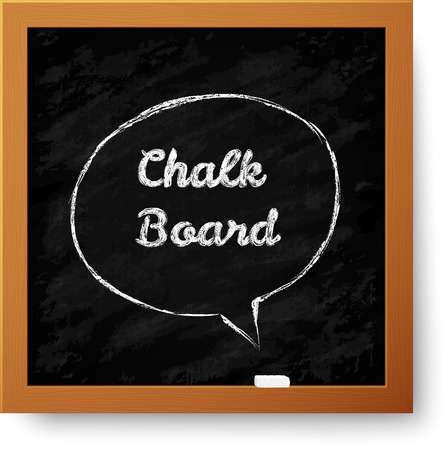 Vector realistic chalkboard with hand-drawn speech bubble Vector