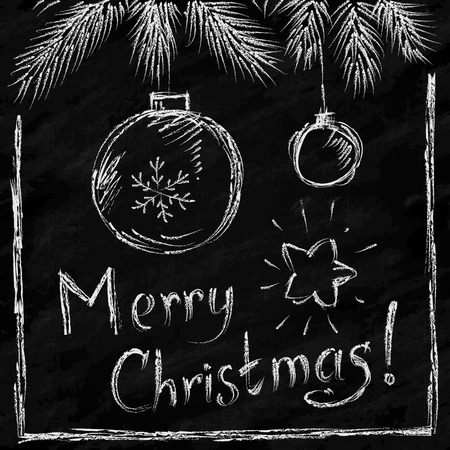 Merry Christmas lettering and balls in naive chalkboard style Illustration