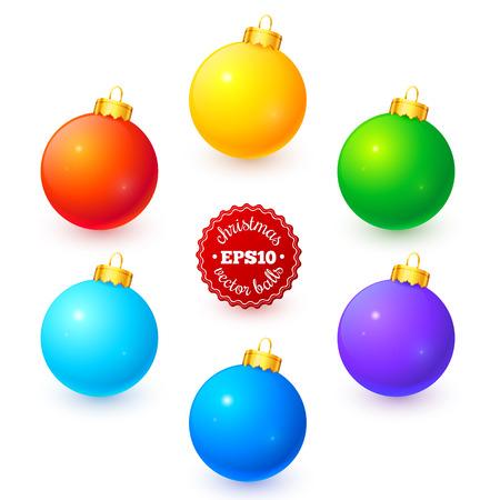 Rainbow colors vector Christmas balls set Vector