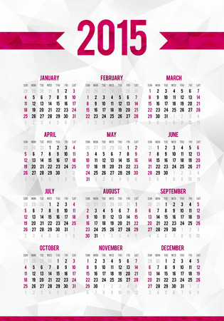 Simple 2015 year calendar template on abstract triangles background Vector
