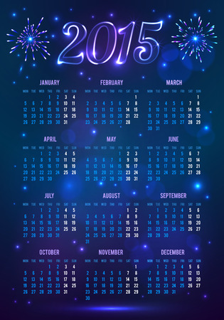 Dark blue 2015 year European calendar in magic style Vector