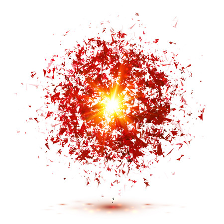 sparkler: Red explosion isolated on white