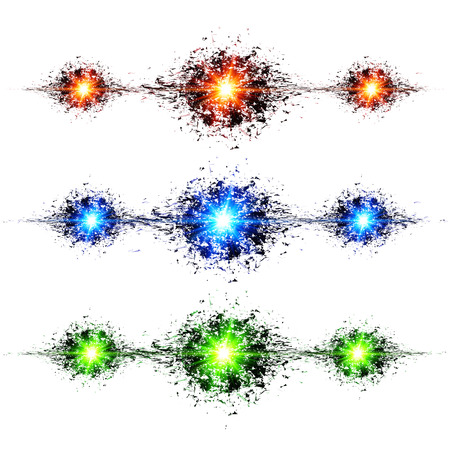 Blue, green and red techno style explosions on white background Vector