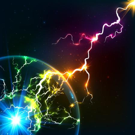 cosmic rays: Rainbow colors shining cosmic plasma lightning