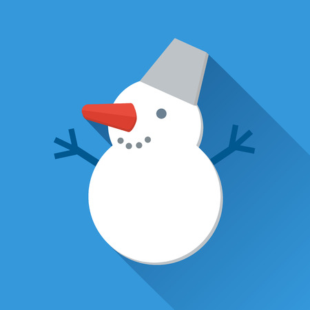 Smiling snowman icon in flat style Vector