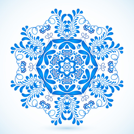 Blue vector snowflake in gzhel style Vector
