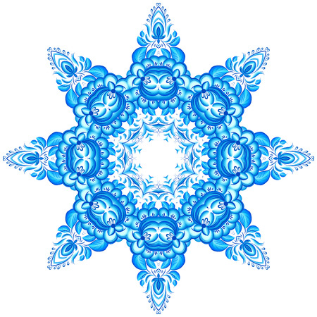 Star vector snowflake in gzhel style Vector