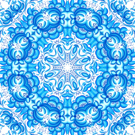 Blue floral seamless pattern in gzhel style Vector