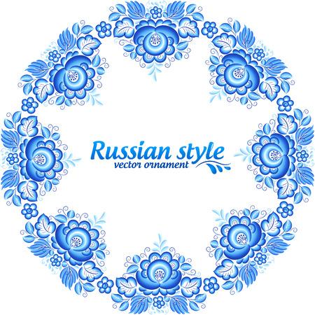 gzhel: Blue floral round frame in gzhel style