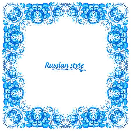 gzhel: Blue floral vintage frame in gzhel style