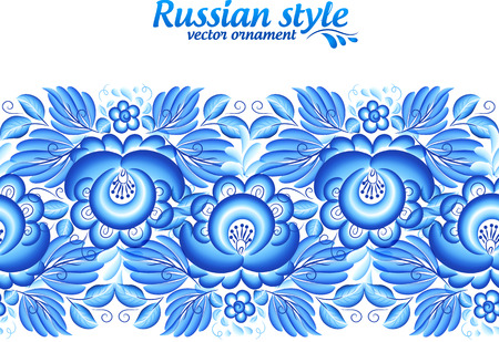 Blue floral ornate line in gzhel style Vector