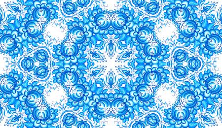 gzhel: Blue floral seamless pattern in gzhel style