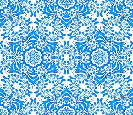 blue floral: Blue floral seamless pattern in gzhel style