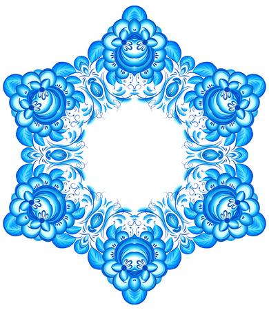 gzhel: Star vector snowflake in gzhel style
