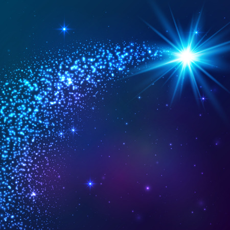 meteor shower: Blue shining vector star with dust tail