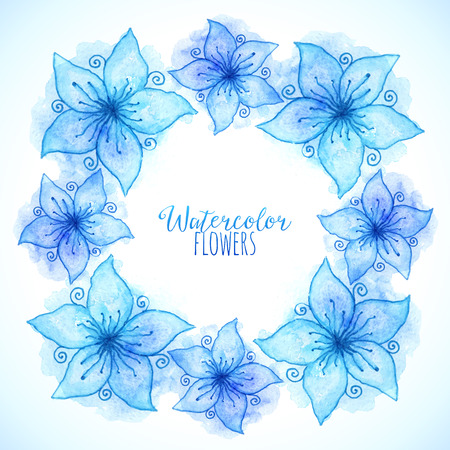 Blue vector watercolor painted flowers frame Vector