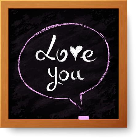 chipboard: Realistic vector black chalkboard with hand-drawn speech bubble Illustration