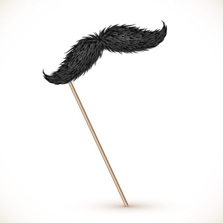 Black realistic vector mustaches on stick