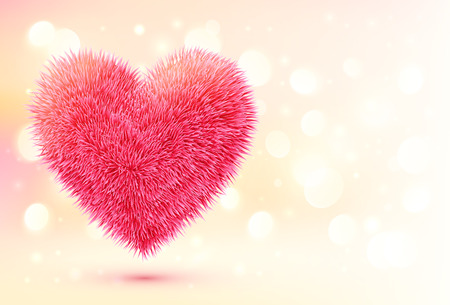 Pink fluffy heart on shining bokeh background