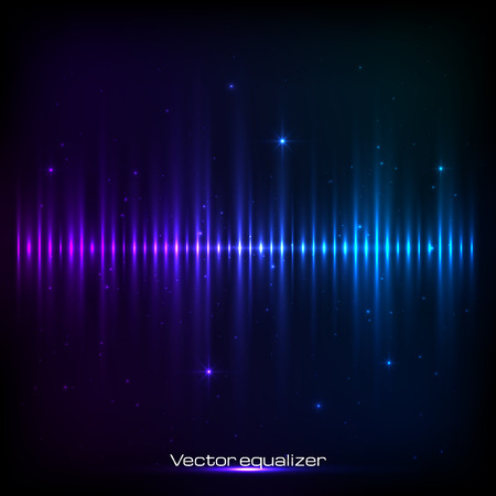 Dark blue shining vector equalizer Çizim