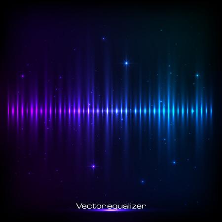 Dark blue shining vector equalizer Illustration
