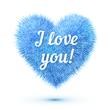 i love you sign: Blue fluffy heart with I love you sign