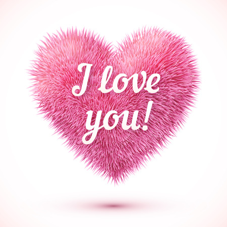 i love you sign: Pink fluffy heart with I love you sign Illustration