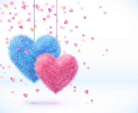 Azul y rosa par de corazones de San Valentín Fondo del día Ilustración de vector