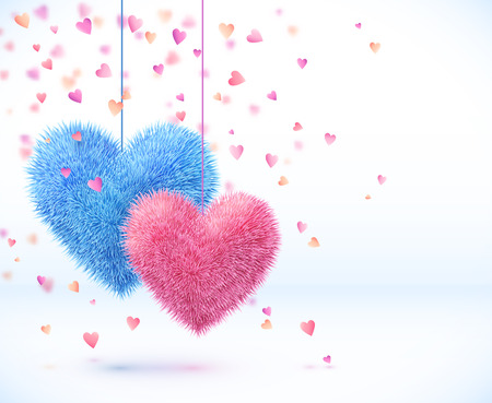 feb: Blue and pink pair of hearts Valentines day background