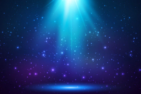 Blue shining top magic light background Ilustracja